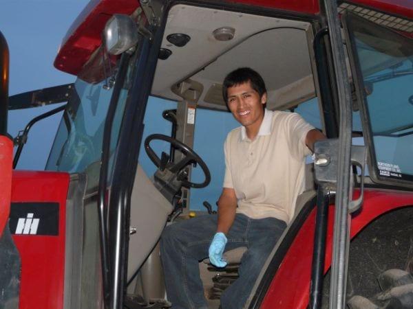Peruvian tractor driver